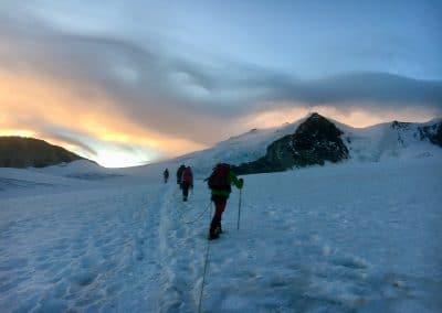 Aufstieg in der Gletscherseilschaft
